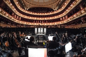 The view from the main stage Orchestra Pit at the Royal Opera House Credit: ROH/Sim Canetty-Clarke, 2014
