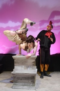 The Lady Fox (Breonna Noack) and the Rooster (David Hunt) in Renard at Oakland Opera Theatre, 2008