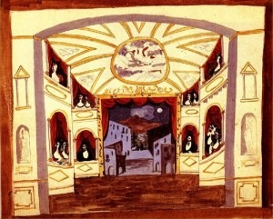 Scene design from Pulcinella (note Mount Vesuvius looming in the background)
