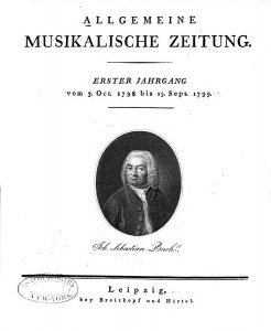 The title page of the first issue of Allgemeine musikalische Zeitung, with J.S. Bach