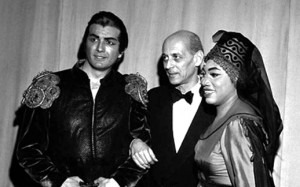 Rudolf Bing with Leontyne Price and Franco CorelliCredit: http://parterre.com/