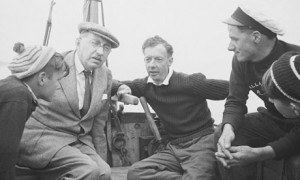 Britten at sea with the fishermen.