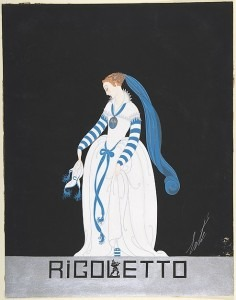 Design for White Dress with Blue Sash and Blue and White Striped Sleeves for Ganna Walska in Rigoletto by the Chicago Opera Company (Metropolitan Museum of Art)