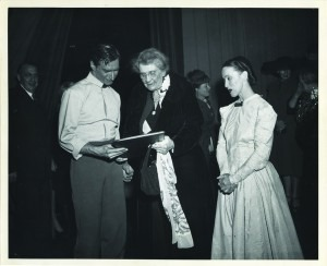 """Martha Graham and Erick Hawkins are greeted by Elizabeth Coolidge, center, following the debut performance of """"Appalachian Spring."""" The Elizabeth Sprague Coolidge Foundation Collection, Music Division."""
