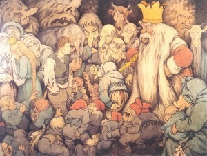 Peer Gynt in the Hall of the Mountain King, Theodor Kittelsen, 1913 watercolour