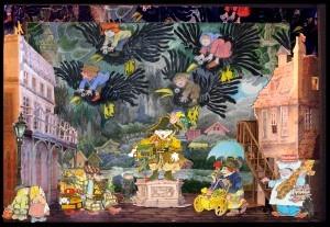 Set design for Sendak's Brundibar – the 2 children are at the bottom left and Brundibar is stage centre