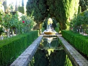 The play of sun and shadow in the Generalife gardens