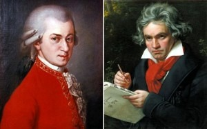 Beethoven (right) is now more popular than Mozart (left)  CREDIT: GL ARCHIVE / ALAMY; FINEART / ALAMY