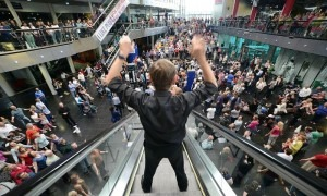 'It took us six years to find a way to put on Crowd Out ... one of the premieres of which I am most proud.' David Lang's Crowd Out at Millennium Point, Birmingham.  Photograph: Robert Day