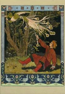 Bilibin: Ivan Tsarevich catching the Firebird's feather