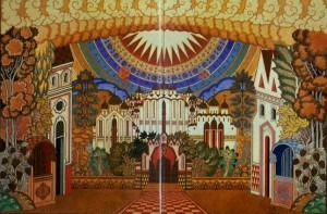 Kitezh Transformed. Stage-set design for Scene Two, Act Four of Rimsky-Korsakov's The Tale of the Invisible City of Kitezh and the Maiden Fevronia, 1929.