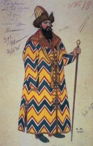 The Boyar. Costume design for Rimsky-Korsakov's The Tale of Tsar Saltan, 1936.