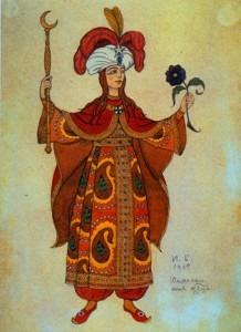 The Shemakha Queen. Costume design for Rimsky-Korsakov's The Golden Cockerel, 1909.