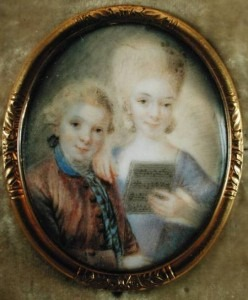 Wolfgang Amadeus Mozart (1756-91) and his sister Maria-Anna, called 'Nannerl' (1751-1829) (ivory) by Alphen, Eusebius Johann (1741-72)
