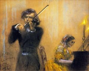 Adolph von Menzel - Clara Schumann and Josep Joachim in Concert, 1854