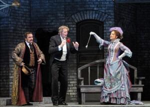 Eisenstein is confronted with his stolen watch: Michael Spyres as Alfred, Bo Skovhus as Eisenstein, Juliane Banse as Rosasinde (Chicago Lyric Opera)