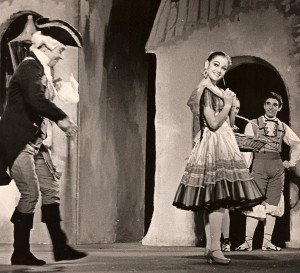 Chris van Niekerk, Maxine Denys, and Harold King in the early 1960s in a production of The Three-Cornered Hat in Capetown.