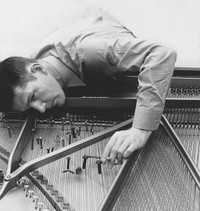 Cage preparing a piano, in 1947. Photograph by Irving Penn / © 1947 (Renewed 1975) CondÉ Nast Publications Inc.