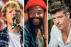 Ed Sheeran, left, and Robin Thicke, right, have both been accused of copying aspects of musical work by Marvin Gaye, center. Credit From left: Chad Batka for The New York Times; Jim Britt/Michael Ochs Archive, via Getty Images; Elizabeth Weinberg for The New York Times