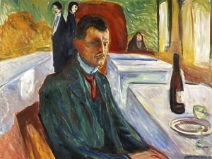 Munch's Self-Portrait with a Bottle of Wine, 1906