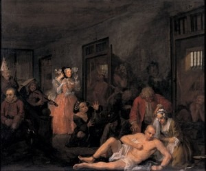 Hogarth: The Rake's Progress 8: The Rake in Bedlam, 1734 (Sir John Soane's Museum, London)