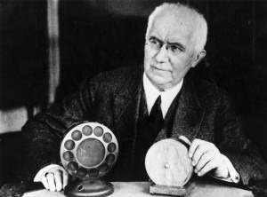 Emile Berliner with an 1877 and a 1927 microphone Hulton Archive/Getty Images