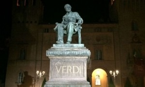 Statue of Verdi in Piazza Verdi in Busseto, Italy (Fred Plotkin)