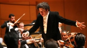 Gustavo Dudamel conducts the Simon Bolivar Symphony Orchestra of Venezuela at Walt Disney Concert Hall in October 2015 (Genaro Molina / Los Angeles Times)