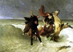 Flight of King Gradlon, by E. V. Luminais, 1884 (Musée des Beaux-Arts, Quimper), showing the king fleeing the sinking city but losing his daughter to the waves.