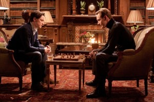 James Mcavoy and Michael Fassbinder playing chess in X-men first class