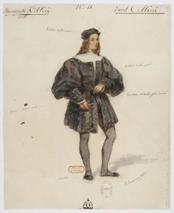 Costumes from the original 1838 production, designed by Paul Lormier: Gilbert Duprez in the title role of Benvenuto Cellini