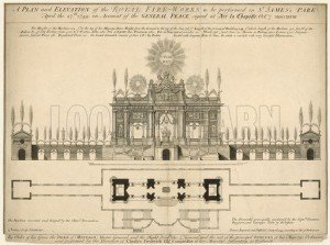 A plan and elevation of the Royal Fireworks to be performed in St James's Park, 27 April 1749
