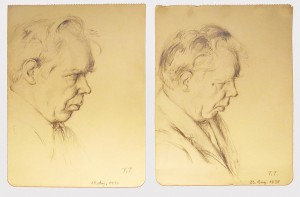 Two drawings of pianist Edwin Fischer by the German artist and musician Fritz Tennigkeit (1892 – 1949)