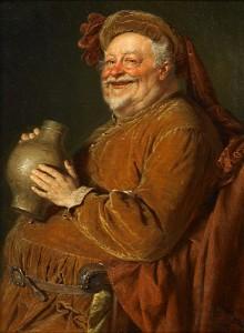Eduard von Grützner: Falstaff mit großer Weinkanne und Becher (1896)