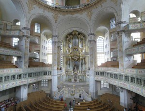 Interior of the newly rebuilt Frauenkirche in Dresden