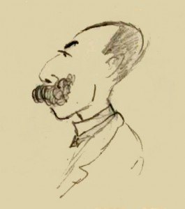 Caricature of André Messager by Gabriel Fauré
