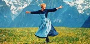 Maria (Julie Andrews) at the opening of the film The Sound of Music