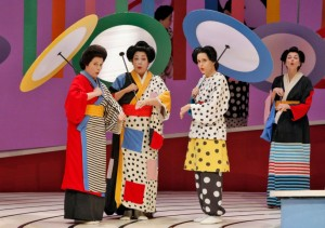 """Colorblind casting is essential to opera's future. Still, in this day and age, it can be startling to see Caucasian singers made up to look Japanese, even in the artist Jun Kaneko's striking """"Madame Butterfly"""" production (seen here at the San Francisco Opera last year, but coming to the Washington National Opera in May). (Cory Weaver)"""