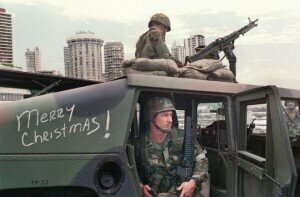 Over Christmas 1989, US soldiers used music to lay siege to Panama's General Manuel NoriegaMANOOCHER DEGHATI/AFP/GETTY IMAGES
