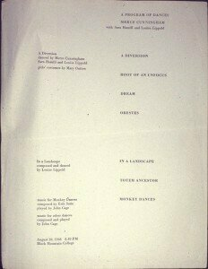 Program from the first performance, with Louise Lippold dancing.