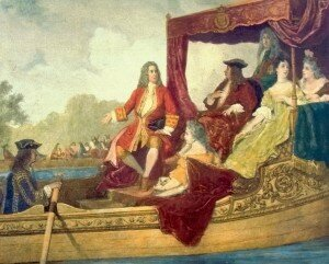 Edouard Hamman: Handel (left) and King George I on the River Thames, 17 July 1717