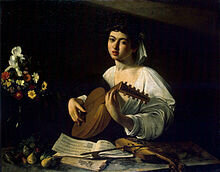 The Lute Player, by Caravaggio; the performer is reading music by Arcadelt.