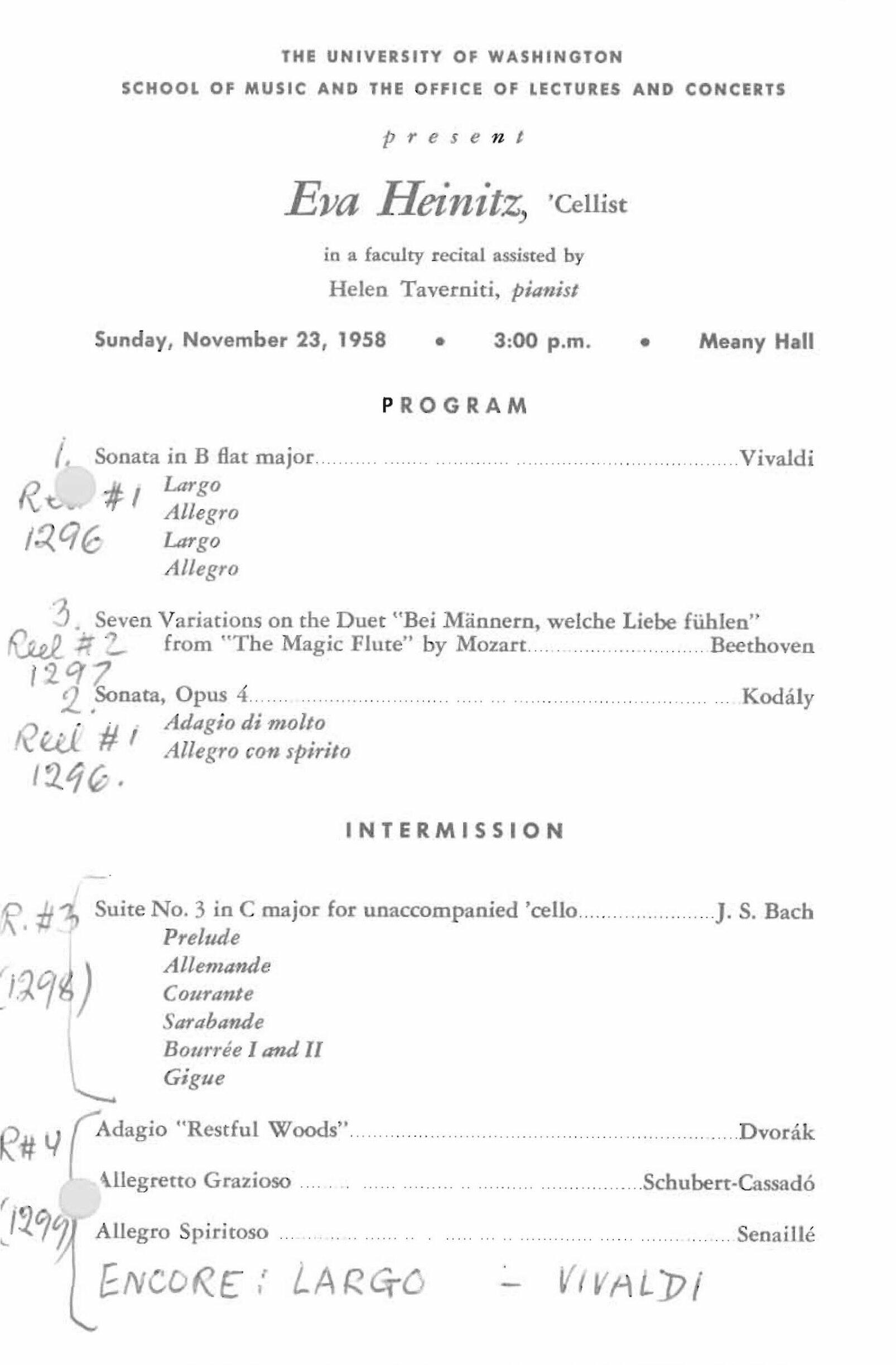 Eva Heinitz program 2 1958 concert program