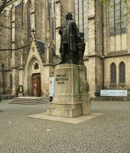 St. John Passion composer Bach's statue in Leipzig