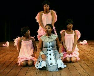 Zolina Ngejane as Pamina surrounded by spirits (Isango Ensemble, South Africa)