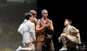 John Brancy as Papageno surrounded by sprits (Clarion Music Society) Photo by Hope Lourie Killcoyne