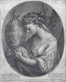 Anne Hunter Home as The Pensive Muse, before her marriage to John Hunter. Engraving by W. W. Ryland, after a lost portrait by Angelica Kauffman, 1767.
