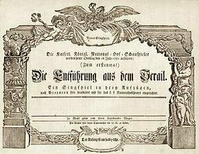 Mozart Die Entführung aus dem Serail Uraufführung 1782