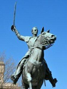 Statue of Simon Bolivar, the inspiration behind the Penderecki viola concerto commission