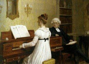 The Piano Lesson - Edmund Blair Leighton (1853-1922)